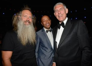 LOS ANGELES, CA - APRIL 18: (EXCLUSIVE COVERAGE) (L-R) Producer Rick Rubin, entrepreneur Russell Simmons and Lyor Cohen attend the 28th Annual Rock and Roll Hall of Fame Induction Ceremony at Nokia Theatre L.A. Live on April 18, 2013 in Los Angeles, California. (Photo by Kevin Mazur/WireImage)