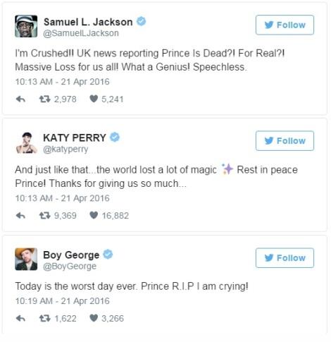 Celeb Prince Tweets